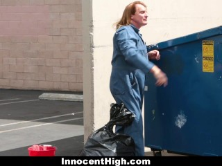 InnocentHigh - Cheerleader Gets Fucked By Janitor