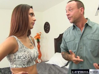 Jaye rims her step dad so he wont tell her mom about nude pics