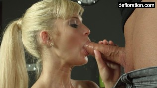 Blondie is a virgin but enjoys riding a penis