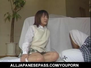 Japanese doll Aizawa Satomi charms hunk with delightful anal toying