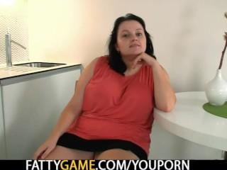 Big tits plumper seduces skinny guy