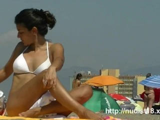 Nudist video at the beach with hot  babes