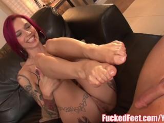Red Head Anna Bell Peaks Gives Wonderful Footjob in Banged Feet Scene!