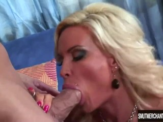 Hot blonde MILF takes fat dick and cum in mouth