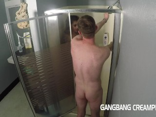 Nerdy girl gets face fucked in shower