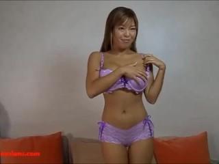 big fake tit asian gets big long black cock and cum covered