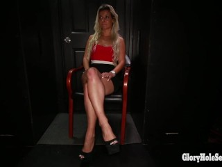Russian blonde slurping down cocks in gloryhole