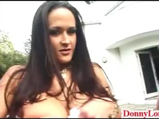 Donny Long breaks 2 huge booby sluts assholes and makes them share cock