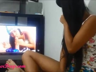 Heather Deep watching her porn on heatherdeep.com gives Deepthroat Throatpie.mp4