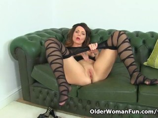 British horny milf Gemma Gold can t ignore her pantyhosed fanny