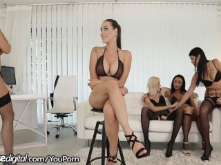 Mea Melone Fucked in All Holes by Strapped Lesbians