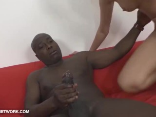 My Stepsister Gagging on Big Black Cock Gets Black Anal fuck and Swallows