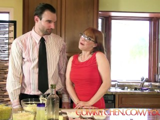 CUM KITCHEN: Redhead Penny Pax swallows cum and gets fucked while cooking