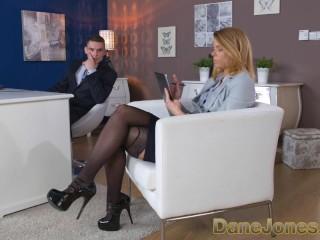 Dane Jones Redhead office secretary in stockings and heels gets slammed