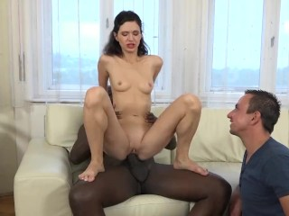 Cuckold Training Lover bangs black slut man in front of BF together with vagina licked