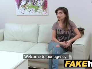 Female Agent Naked photo shoot ends in masturbation and pussy licking orgasms