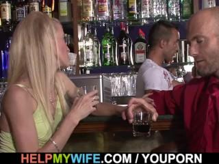 Barman fucks my blonde wife for money