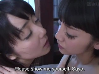 Subtitled japanese lesbian teenagers Sayo Arimoto and Rei Mizuna