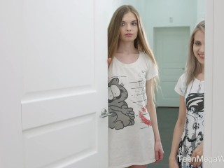 TeenMegaWorld.net - Herda Wisky & Adel Bye - Threesome orgasm for a dick sucker