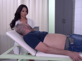 Latin Big Titty Nurse gets her Shaved Pussy Drilled