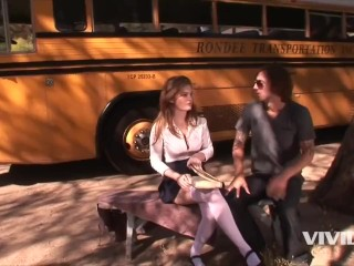 Vivid - Busty Redhed schoolgirl waits for the Bus