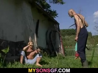 He finds old dad licking his GF's pussy