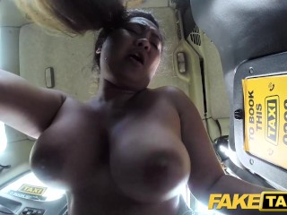 Fraudulent Taxi Thai masseuse with colossal jugs works her magic