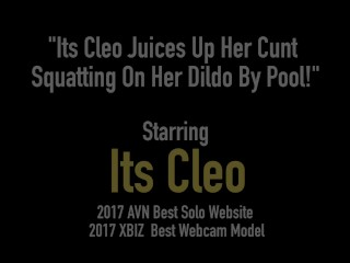 Its Cleo Juices Up Her Cunt Squatting On Her Dildo By Pool!