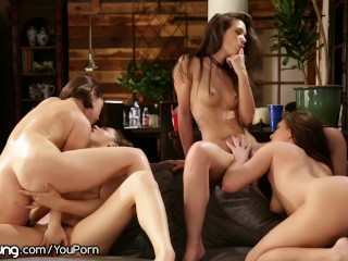 Lesbian Sorority-Sisters Consume Out the Pizza Supply Slut
