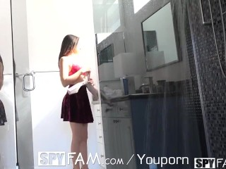 Spyfam Step sister Nina North ambushed and fucked in the shower