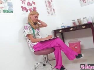 Twistys - Naughty nurse Nicole Ray fingers herself in the office