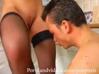 blonde slut big boobs fucked on the kitchen by big cock