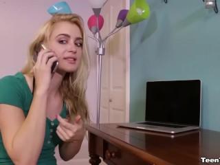 Sexy blonde teen jerks off a man