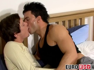 Dave bangs Alex in his twink butthole till he shoots a load