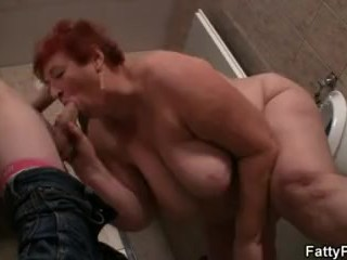 Guy fucks huge boobs fatty in public restroom