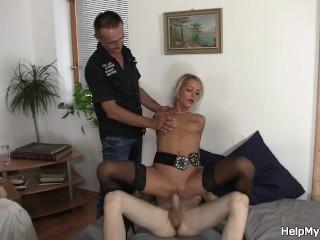 Weak boyfriend watches his lover bounces on friend's willy
