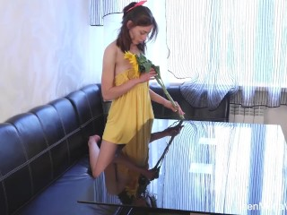 Beauty-Angels.com - Annet - Sweetie plays with sunflower and Dildo