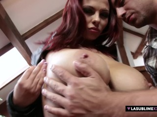 LaSublimeXXX Busty redhead Dominno titty fuck and gives pussy to her boyfriend