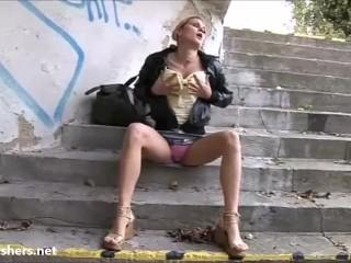 Blonde flashing Binas public nudity and teen exhibitionist babes voyeur masturbation under a bridge