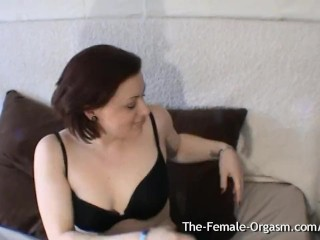 Curvy Babe with Furry Fleshy Wet Pussy Vibrates Her Clit to Orgasm