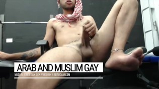 Arab wild sex for gay men only: hot Middle Eastern show man, looking for gay mouths to be choked