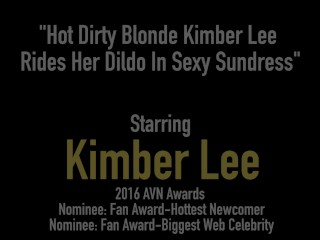 Hot Dirty Blonde Kimber Lee Rides Her Dildo In Sexy Sundress