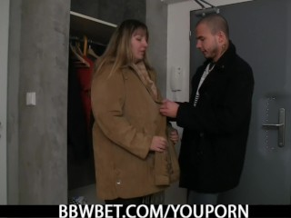 Busty fat ass woman loves riding his meat