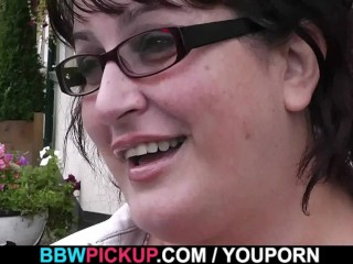 BBW sucks and rides stranger's cock in restroom