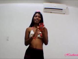 Tiny Asian Thai Teen Heather Deep gives deepthroat throatpie with condom and eats cum.mp4