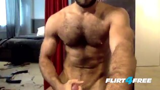 Flirt4Free Guys Cam Stud Diego Sans Unloads His Cum All Over His Hairy Chest