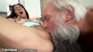 Grandpa Greets Teen Lover in His Towel...