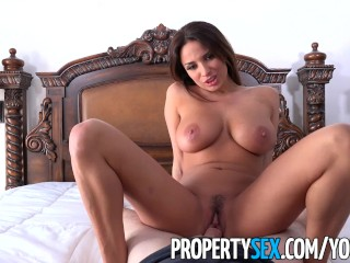 PropertySex – French teacher with big natural tits fucks homeowner
