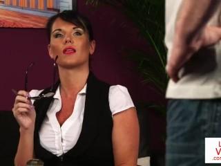 British milf voyeur instructs her sub to jerk