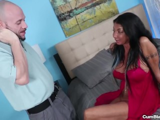 Busty milf makes a cock explode with cum